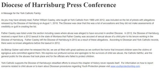 The full statement from York Catholic in response to the Diocese of Harrisburg news conference held Aug. 1, 2018.