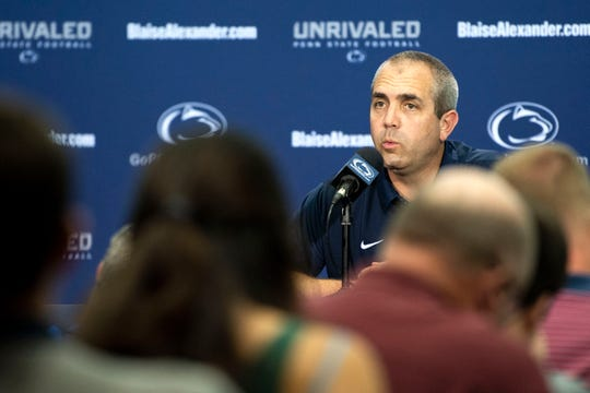 Penn State special teams coordinator and assistant defensive line coach Phil Galiano speaks about how the Nittany Lions will approach kickoff returns this season during media day at Beaver Stadium on Saturday, August 4, 2018.