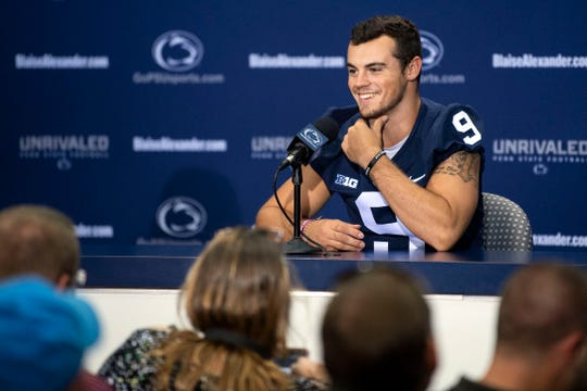 Penn State starting quarterback Trace McSorley answers questions about the upcoming season during media day at Beaver Stadium on Saturday, August 4, 2018.