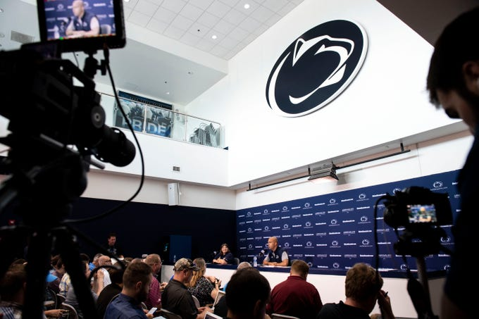 Penn State head coach speaks with media during media day at Beaver Stadium on Saturday, August 4, 2018.