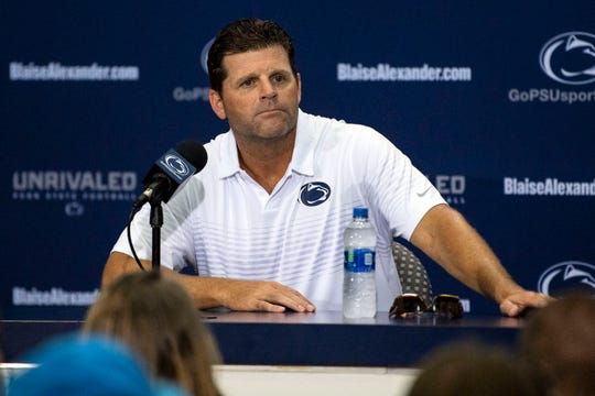 Penn State defensive coordinator and linebackers coach Brent Pry speaks about the Nittany Lions' defense during media day at Beaver Stadium on Saturday, August 4, 2018.