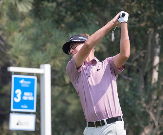 Dylan Meyer hits a tee shot on the third hole during the Barracuda Golf Championship at Montreaux on Saturday, August 4, 2018.