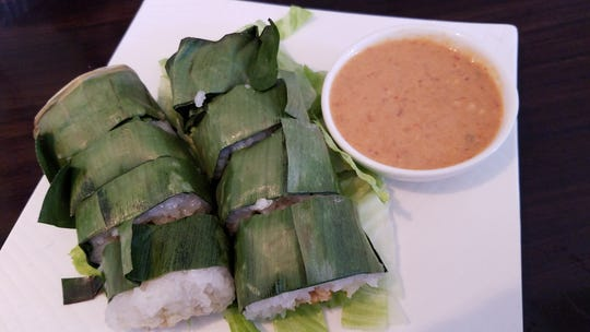 Khao neow gai sticky rice In banana leaf at Shui Asian Fusion restaurant on University Avenue in Rochester.