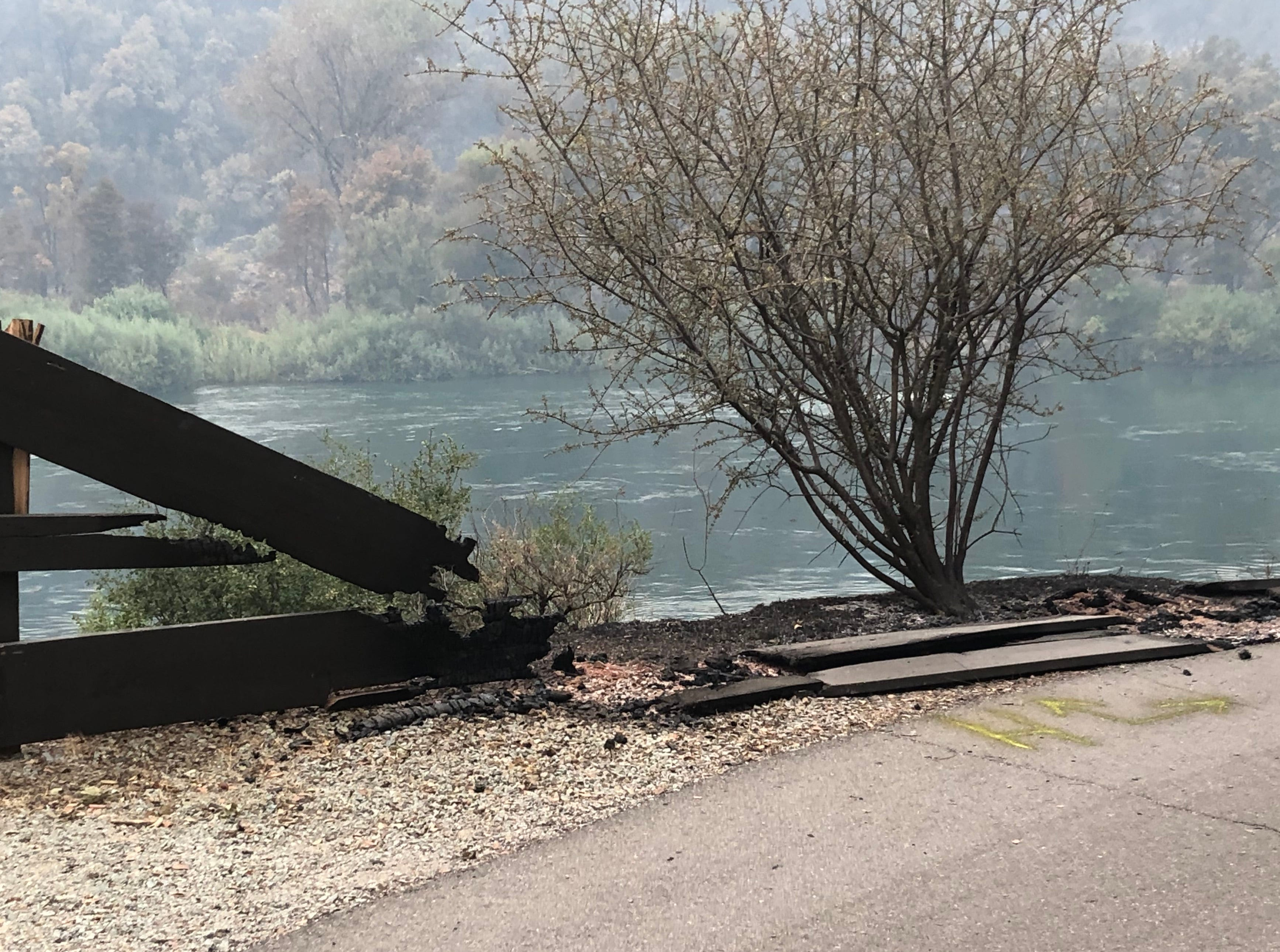 Damage from the Carr Fire on the Sacramento River Trail in Redding.