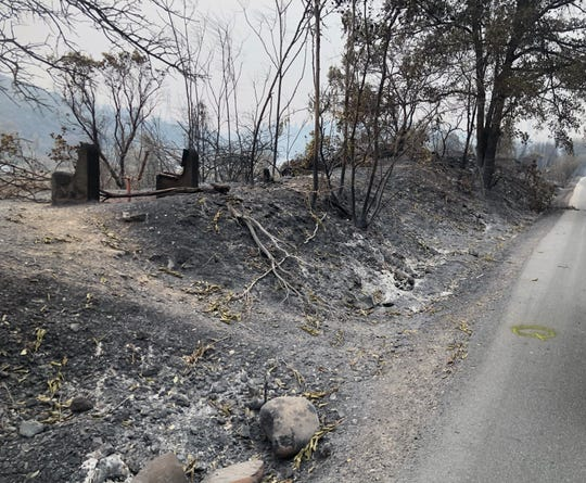 Damage from the Carr Fire along the Sacramento River Trail in Redding.