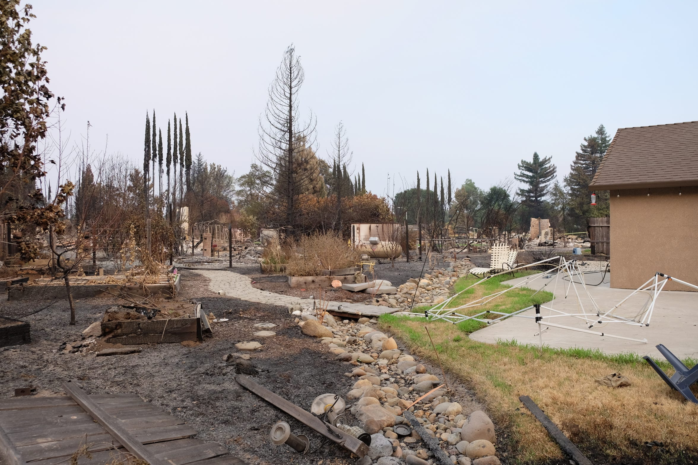 The Robinsons, former Salem residents, fled their Redding residence during the Carr Fire which avoided major damage yet leveled homes on all sides.