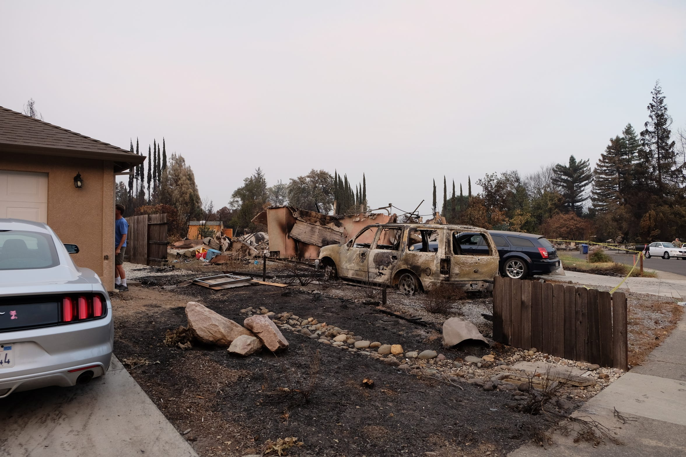 A look at the home adjacent to the Robinsons who fled their Redding residence during the Carr Fire.