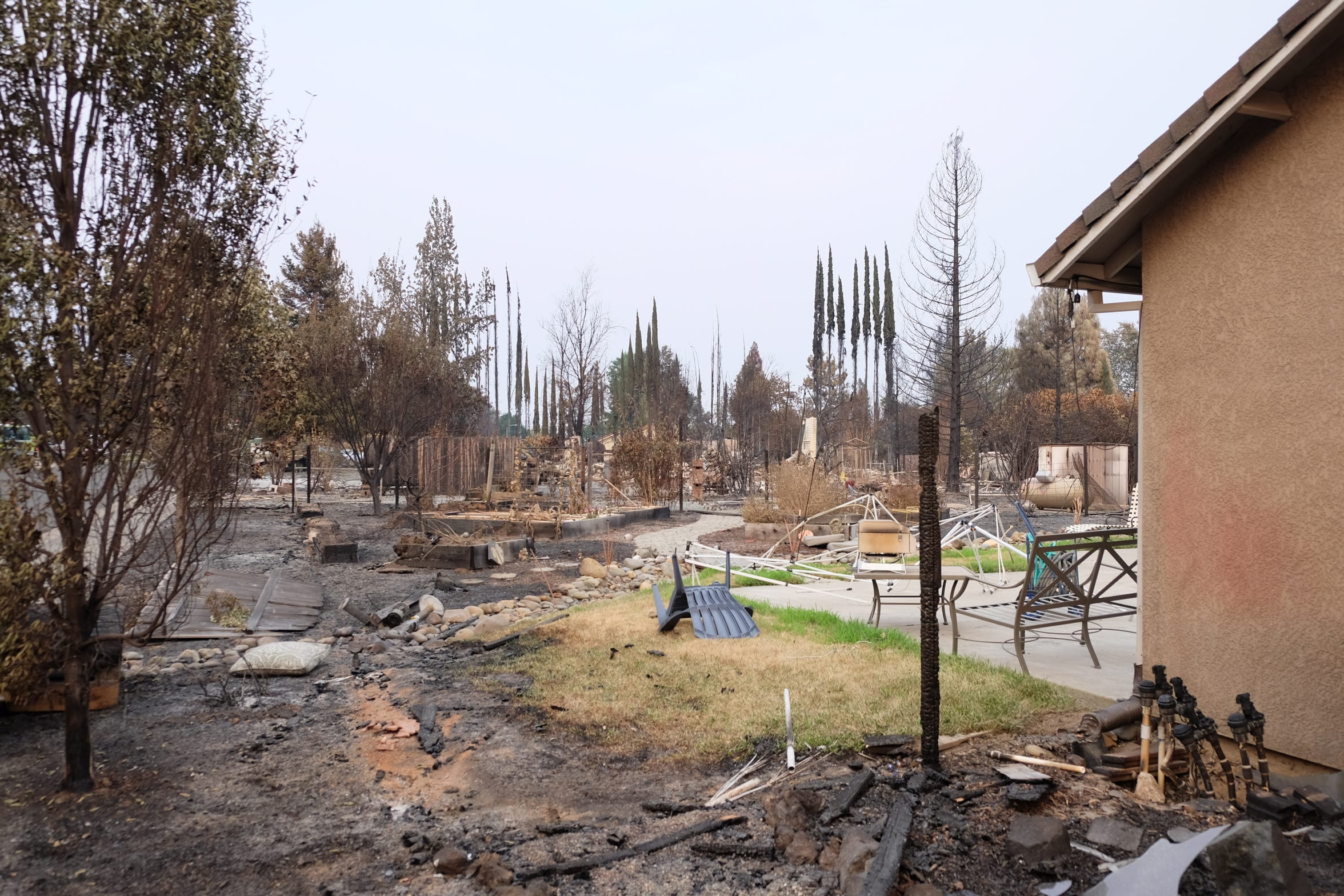 The Carr Fire burned the back and side yards but avoided the home of the Robinsons.