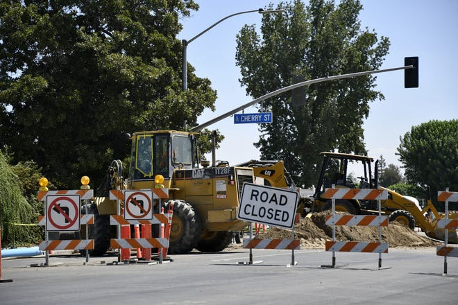 The Cross Avenue and Cherry Street intersection closed to traffic for roadwork on Friday, Aug. 3, 2018. The intersection is one of the main roadways to Cherry Avenue Middle School, located on the corner.