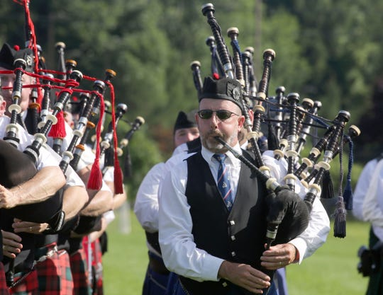 Bagpipers perform during the second annual Ceol M—r Festival hosted by the Rockland County Ancient Order of Hibernians Aug. 4, 2018. The festival, which included a pipes and drums competition, was held at the Rockland GAA fields in Orangeburg. The FDNY band won one of the top prizes in the competition.