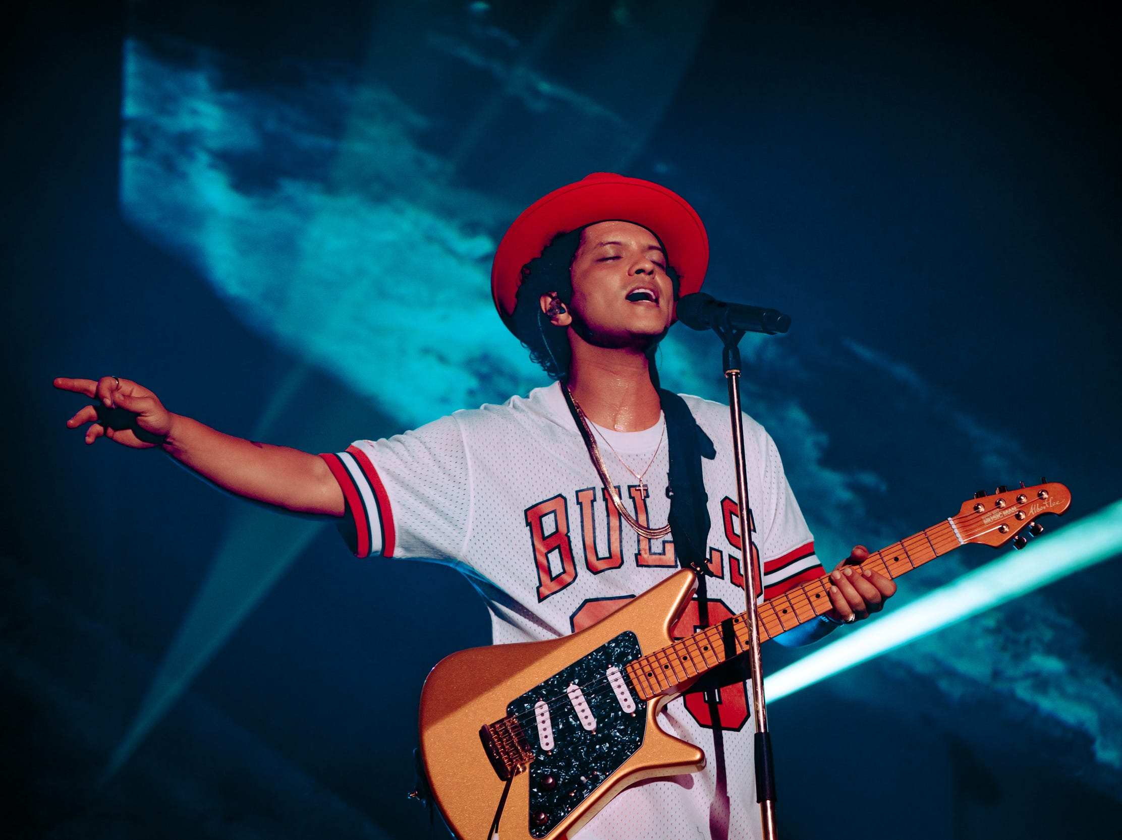 Bruno Mars singing his heart out at the festival Friday.