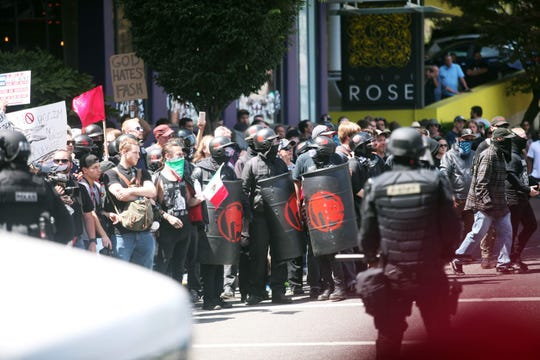 Alt-right activists, anti-fascist protesters and people on all sides of the political spectrum gather for a campaign rally organized by right-wing leader and Republican Senate candidate Joey Gibson on Aug. 4 in Portland, Oregon.