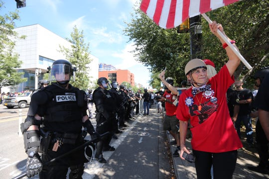 Far-right protesters rally for gun rights laws and free speech on Aug. 4 in Portland, Ore.