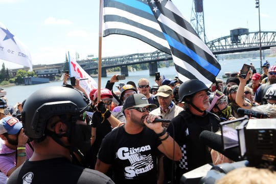 Joey Gibson, rally organizer, Patriot Prayer founder and Republican Senate candidate, addresses alt-right activists in Portland, Oregon, on Aug. 4.