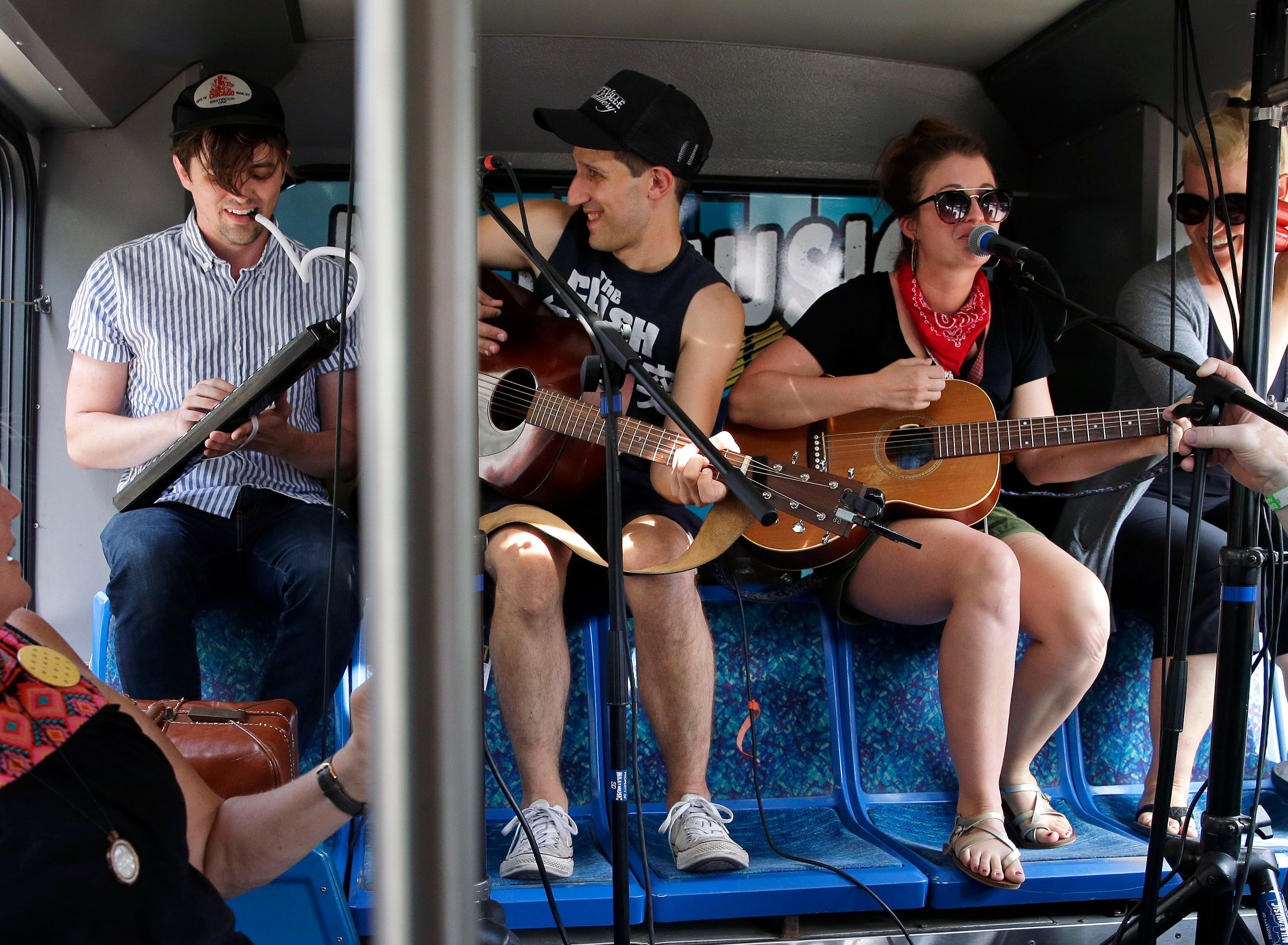 Good Night Gold Dust performs on the Mile of Music Bus during Mile 6 Saturday, August 4, 2018, in Appleton, Wis.Ron Page/USA TODAY NETWORK-Wisconsin