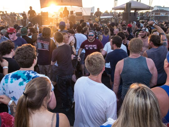 Crowds gathering to listen to The Bouncing Souls and Against Me! performing at the Stone Pony Summer Stage. Saturday, August 4th, 2018, in Asbury Park, New Jersey. (Contributor: EvaJo Alvarez)