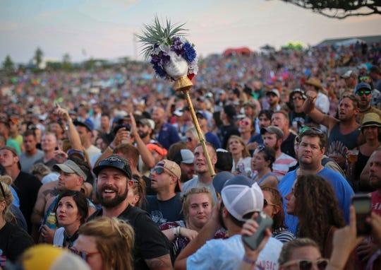 Fans gather to listen to Nathaniel Rateliff and the Night Sweats on Saturday, Aug. 4, 2018, during the Hinterland music festival in St. Charles.