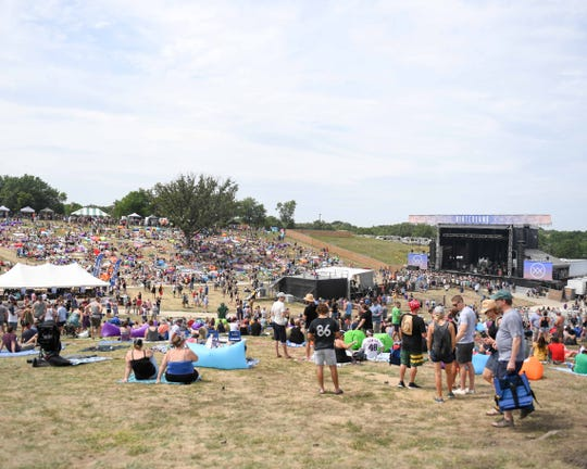 Fans gather Saturday, August 4, 2018, for the Hinterland Music Festival in St. Charles, Iowa.