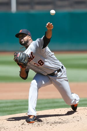 Detroit Tigers starting pitcher Francisco Liriano delivers against the Oakland Athletics during the first inning Sunday, Aug. 5, 2018, in Oakland.