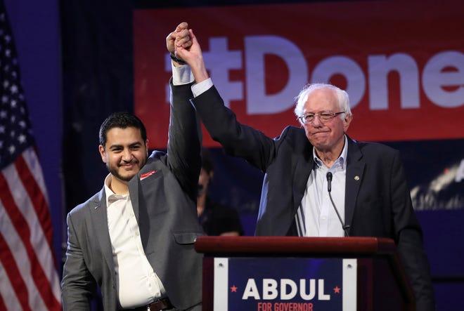 U.S. Sen. Bernie Sanders, D-Vermont, shown here in Detroit with former gubernatorial candidate Adbul El-Sayed, calls himself a democratic socialist.