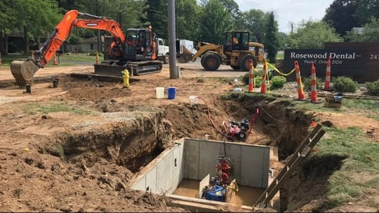 The site of a water pressure reduction site in Parchment. The system will allow the city to transition the water supply to Kalamazoo city water.