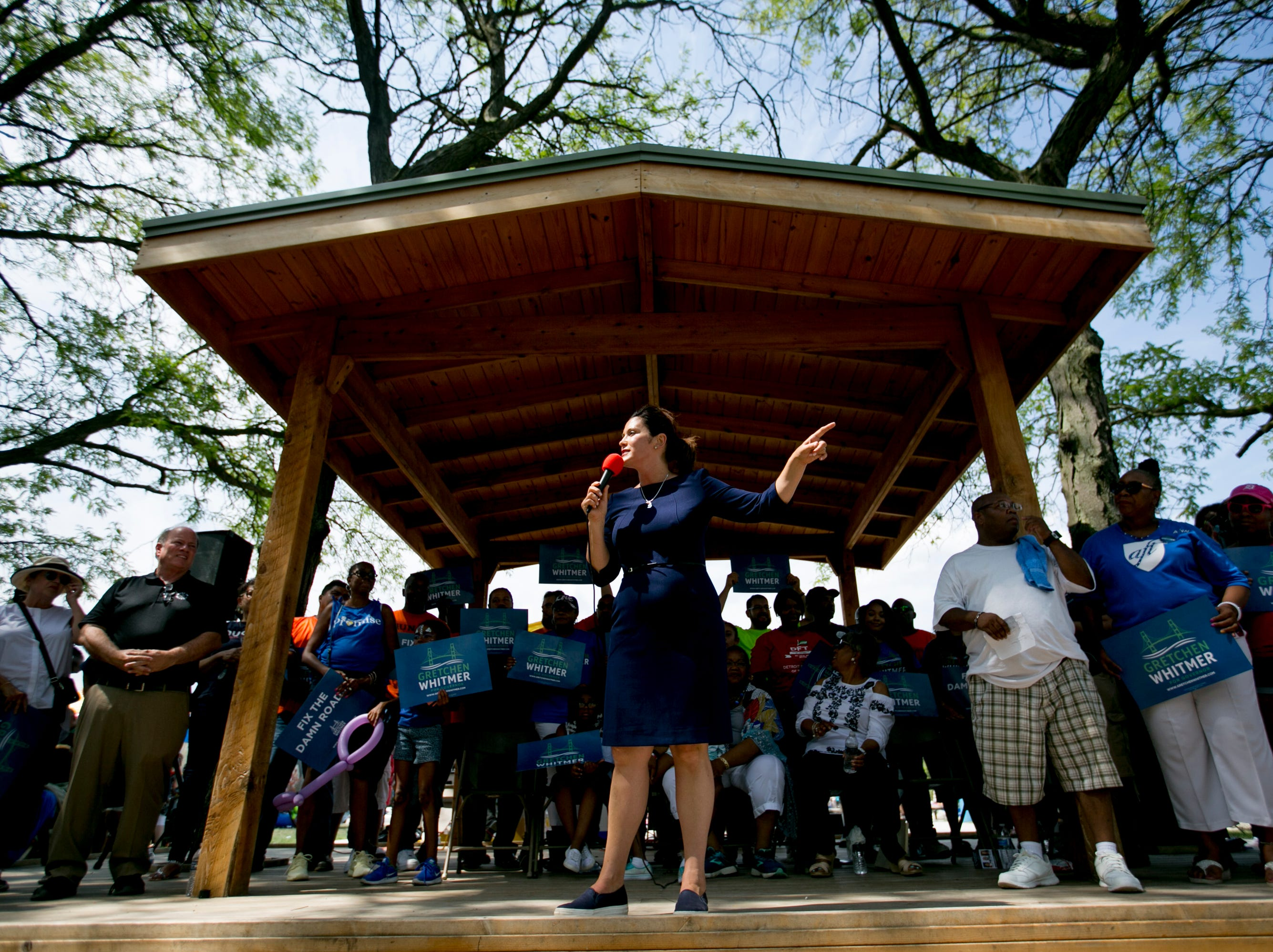 Gubernatorial candidate Gretchen Whitmer speaks a campaign event at Gordon Park in Detroit on August 6, 2018.