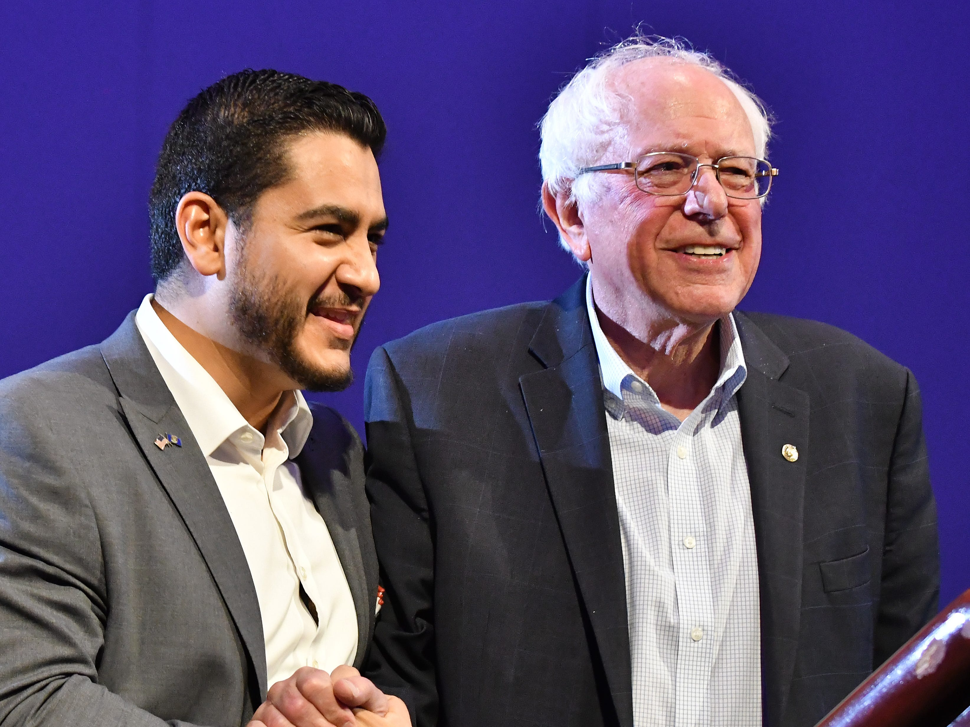 Michigan Democratic gubernatorial candidate Abdul El-Sayed and U.S. Sen. Bernie Sanders at the end of Sanders' speech at Cobo Center in Detroit on August 5, 2018.
