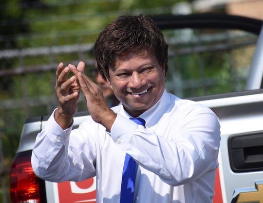 Michigan Democratic gubernatorial candidate Shri Thanedar acknowledges supporters during an informal get-together at the Horace L. Sheffield Jr. Center in Detroit, Michigan on August 4, 2018.