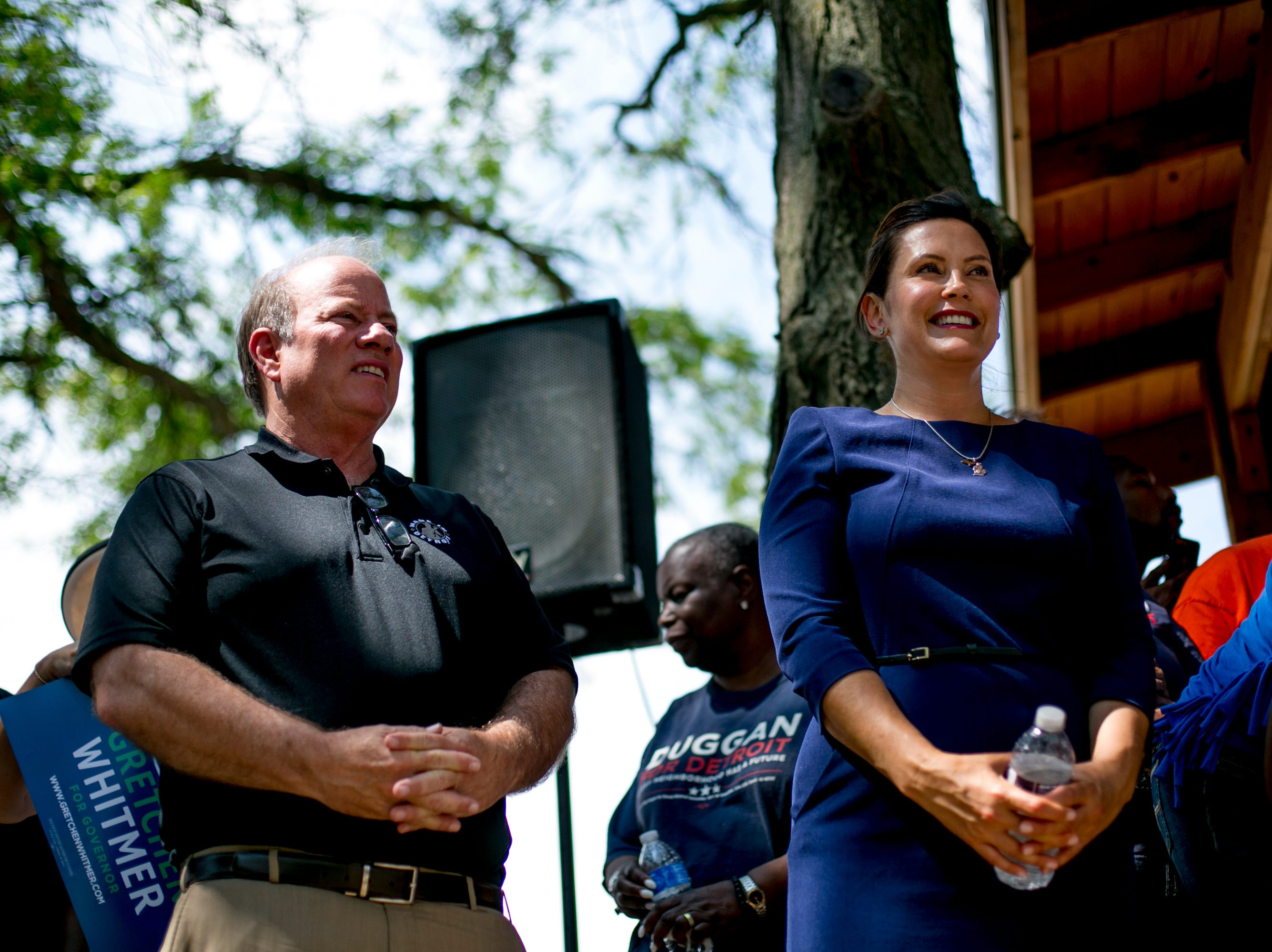 Gubernatorial candidate Gretchen Whitmer stands with Detroit Mayor Mike Duggan at Gordon Park.