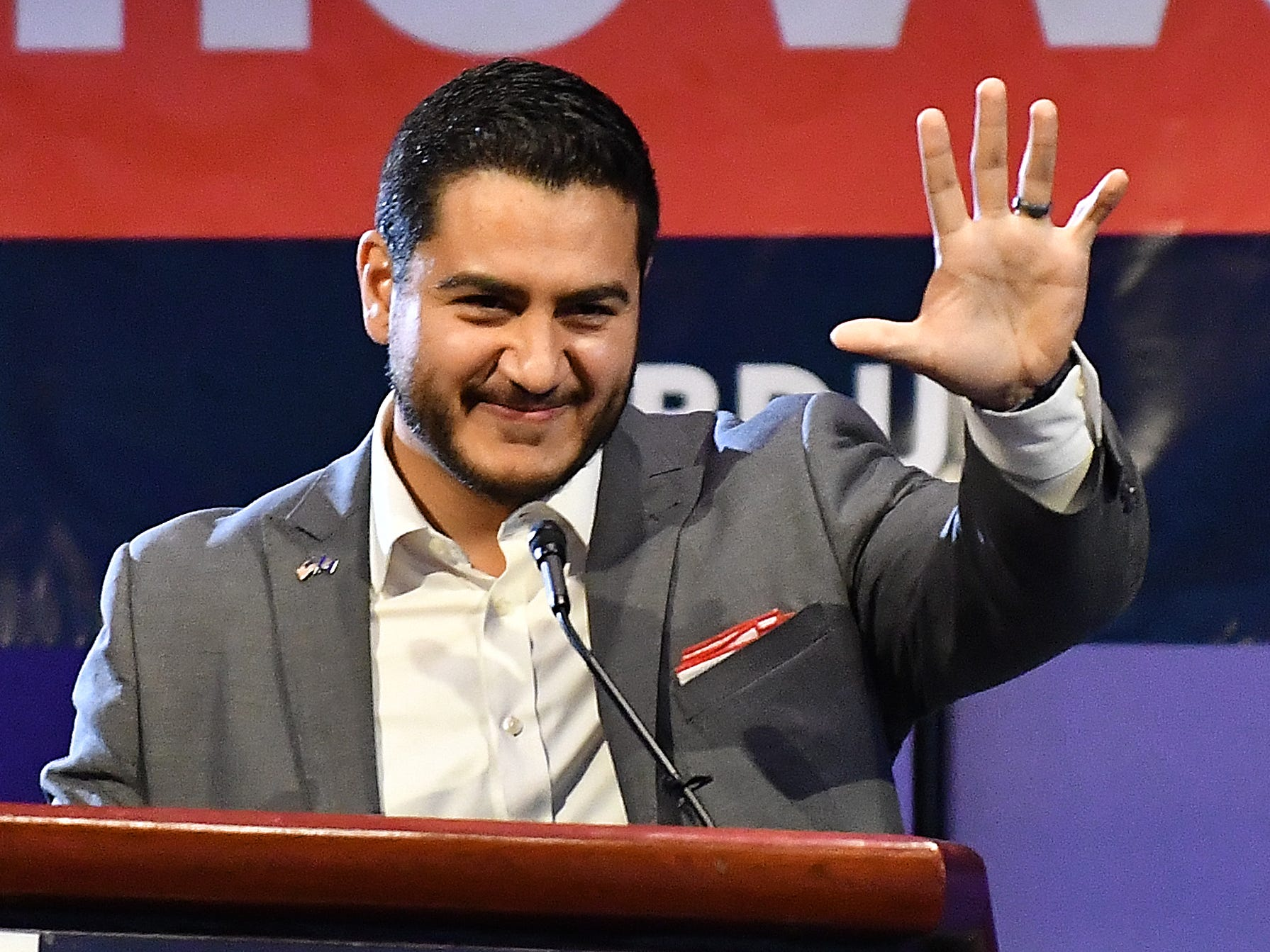 Michigan Democratic gubernatorial candidate Abdul El-Sayed speaks at Cobo Center.