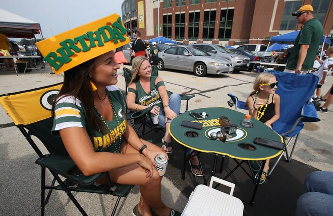 Heather Hembrough celebrates her birthday tailgating and attending the Green Bay Packers Family Night  Saturday, August 4, 2018 at Lambeau Field in Green Bay, Wis.,
