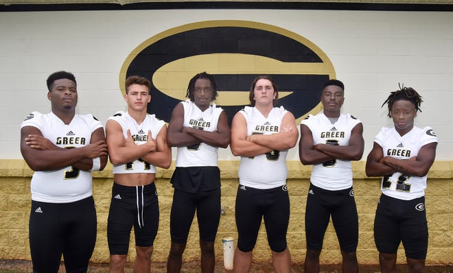 Greer seniors, from left, Quack Cohen, Ethan Alexander, Braxton Collins, Kyle Shneider, Trey Houston and Dre Williams have high expectations as always, especially after coming within one victory of the state final last season.