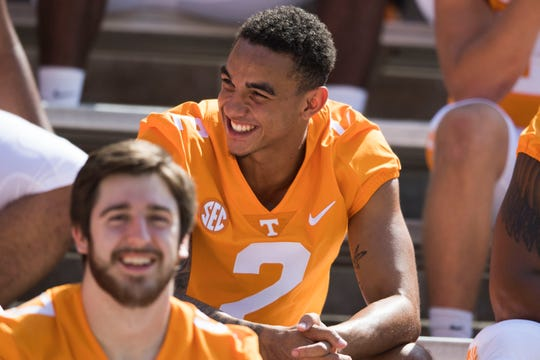 Jarrett Guarantano (2) smiles during media day at University of Tennessee in Neyland Stadium, Sun. Aug. 5, 2018.