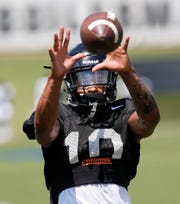 Wide receiver Amad Anderson Jr. with a catch during football practice Sunday, August 5, 2018, at Purdue.