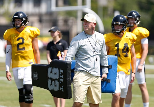 Head coach Jeff Brohm turns to watch a wide receiver haul in a catch during football practice Sunday, August 5, 2018, at Purdue.