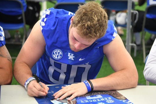 TE Brenden Bates during the UK football Fan Day at Nutter Field House in Lexington, Kentucky on Saturday, August 4, 2018.