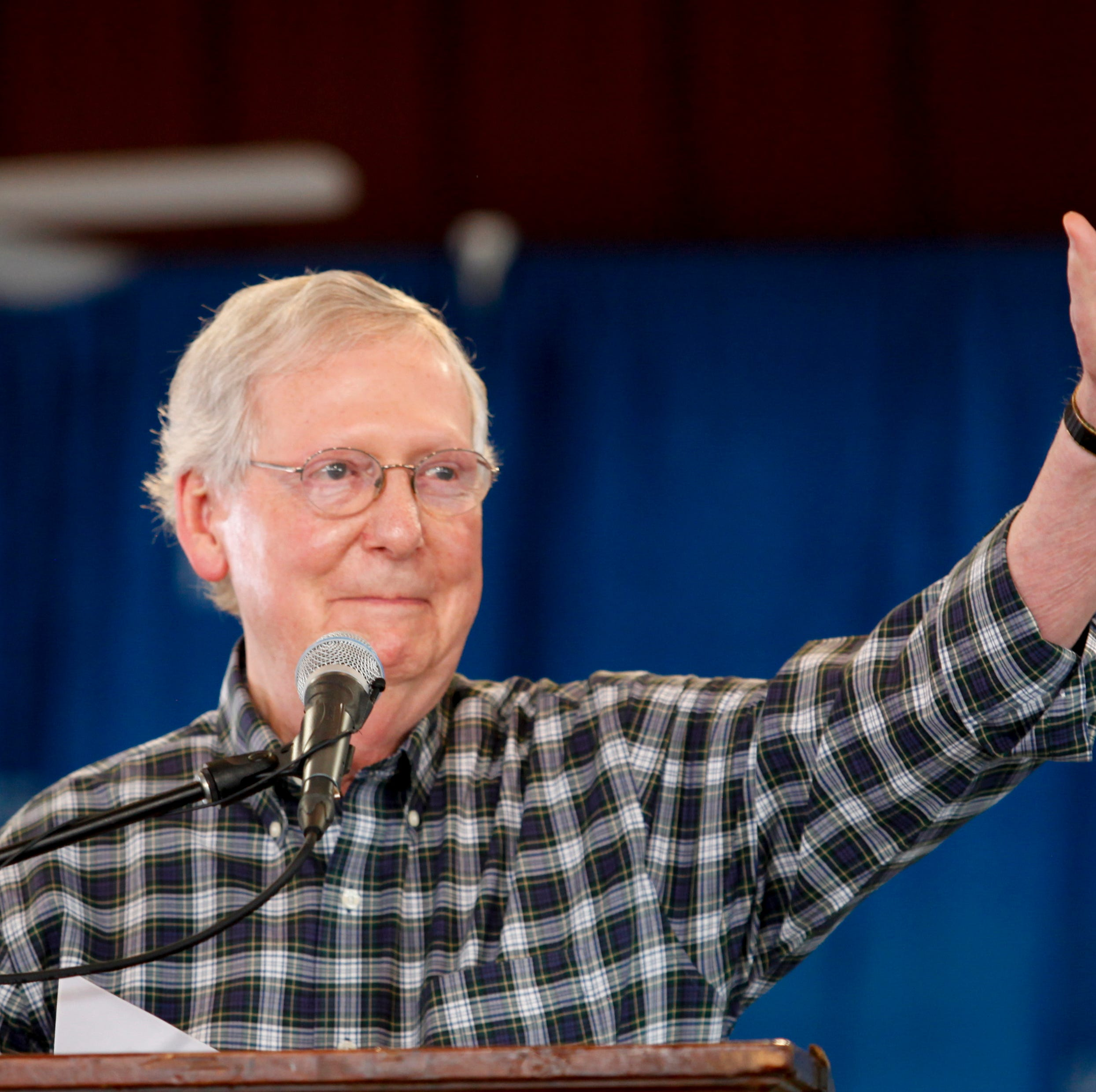 Senate Majority Leader Mitch McConnell talks at Fancy Farm.