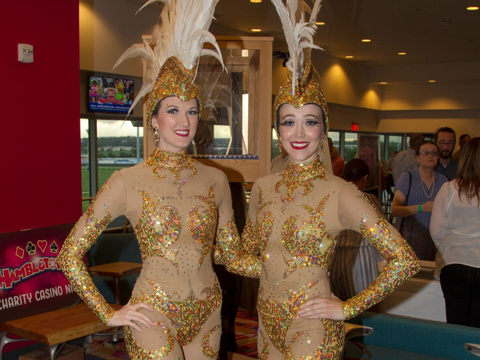 Screaming Queens - Britteny Schruefer and Sarah Burns. Meadowlands Racetrack hosted its Hambletonian Party in East Rutherford. The casino charity night featured poker, casino games, auctions, and raffles. 08/03/2018
