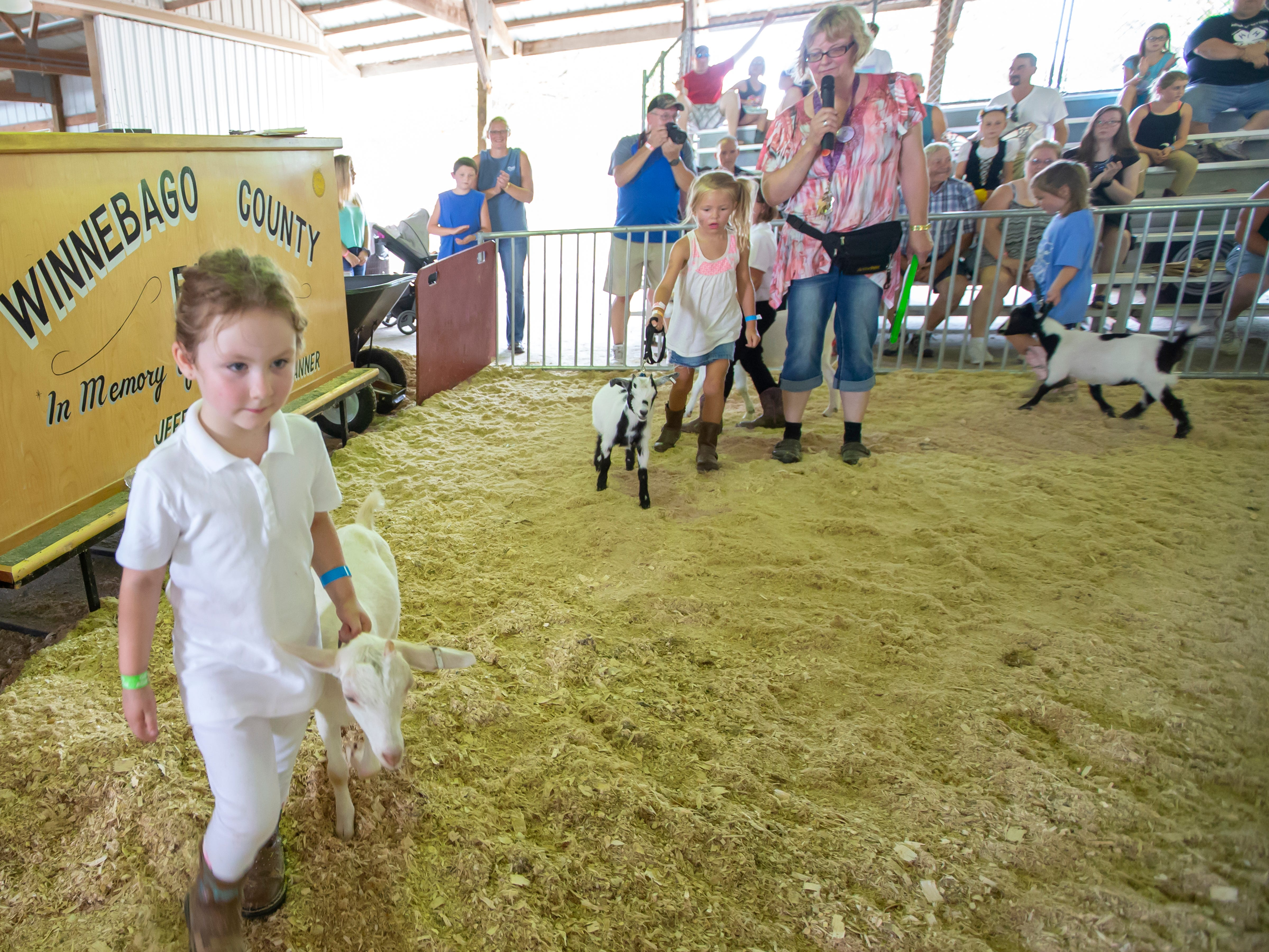 """Children show their goats in a """"Kids showing Kids"""" event during the Winnebago County Fair on Saturday, Aug. 4, 2018."""