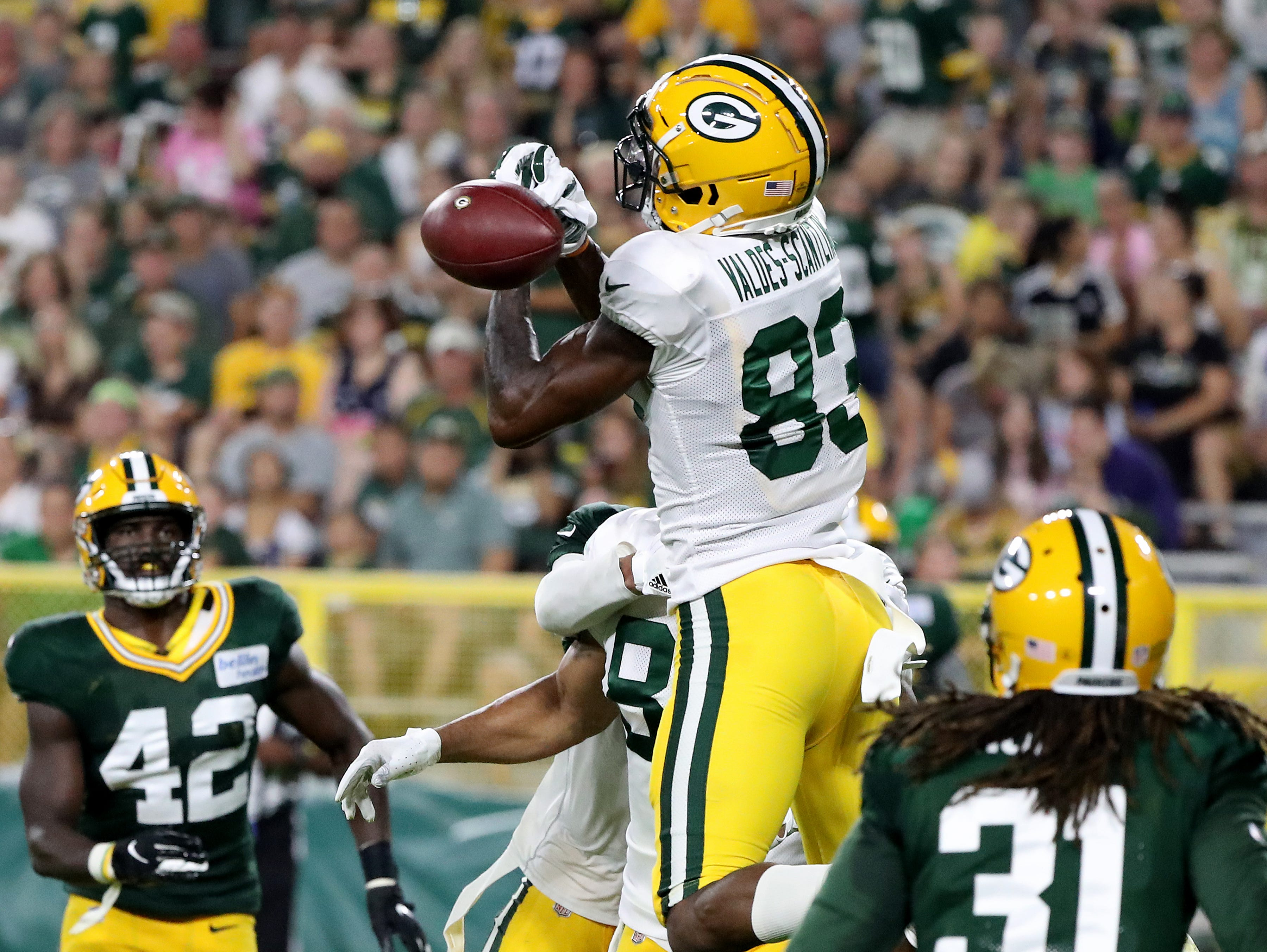 Green Bay Packers wide receiver Marquez Valdes-Scantling (83) drops a fourth down pass in the end zone during Green Bay Packers Family Night  Saturday, August 4, 2018 at Lambeau Field in Green Bay, Wis.,