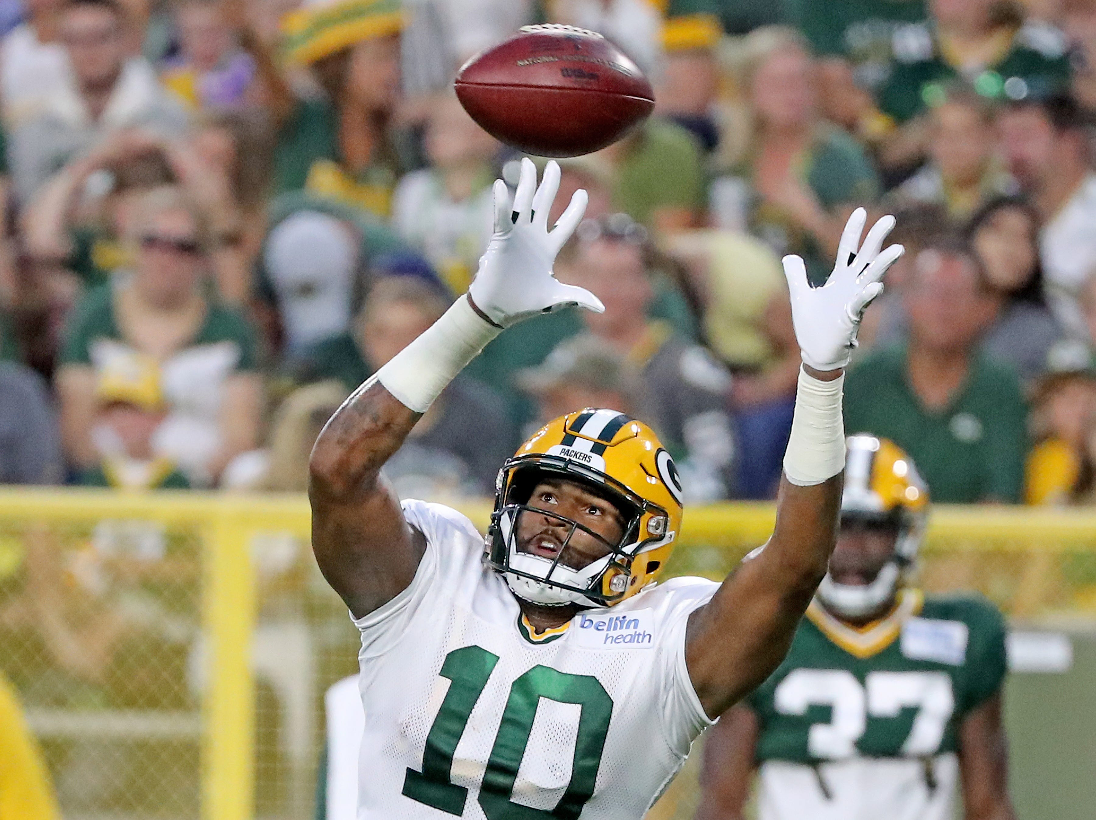 Green Bay Packers wide receiver DeAngelo Yancey (10) during Green Bay Packers Family Night  Saturday, August 4, 2018 at Lambeau Field in Green Bay, Wis.,