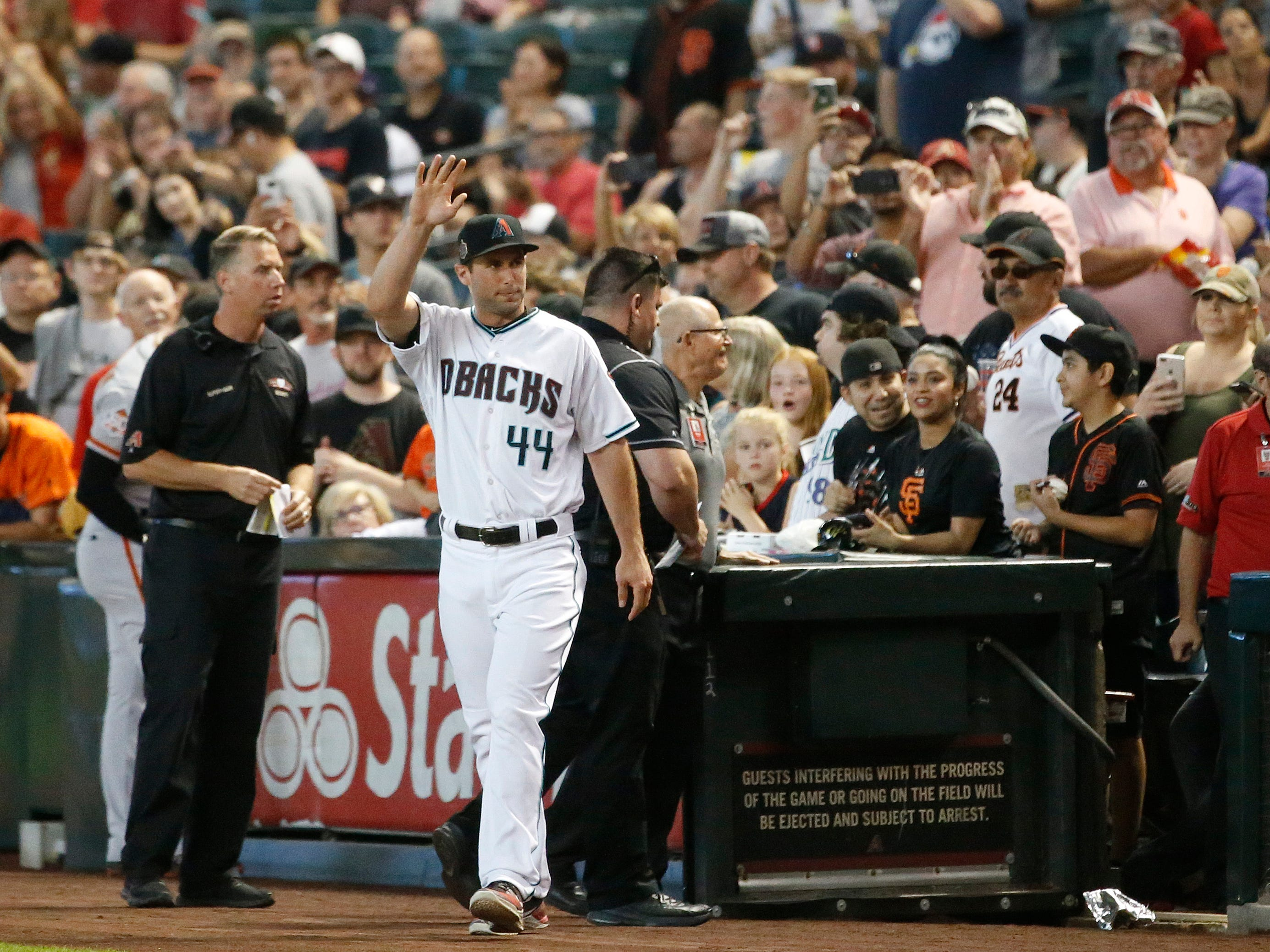 Diamondbacks Paul Goldschmidt (44) is announced as a member of the 20th Anniversary team before a Diamondbacks game at Chase Field in Phoenix, Ariz. on Aug. 4, 2018.
