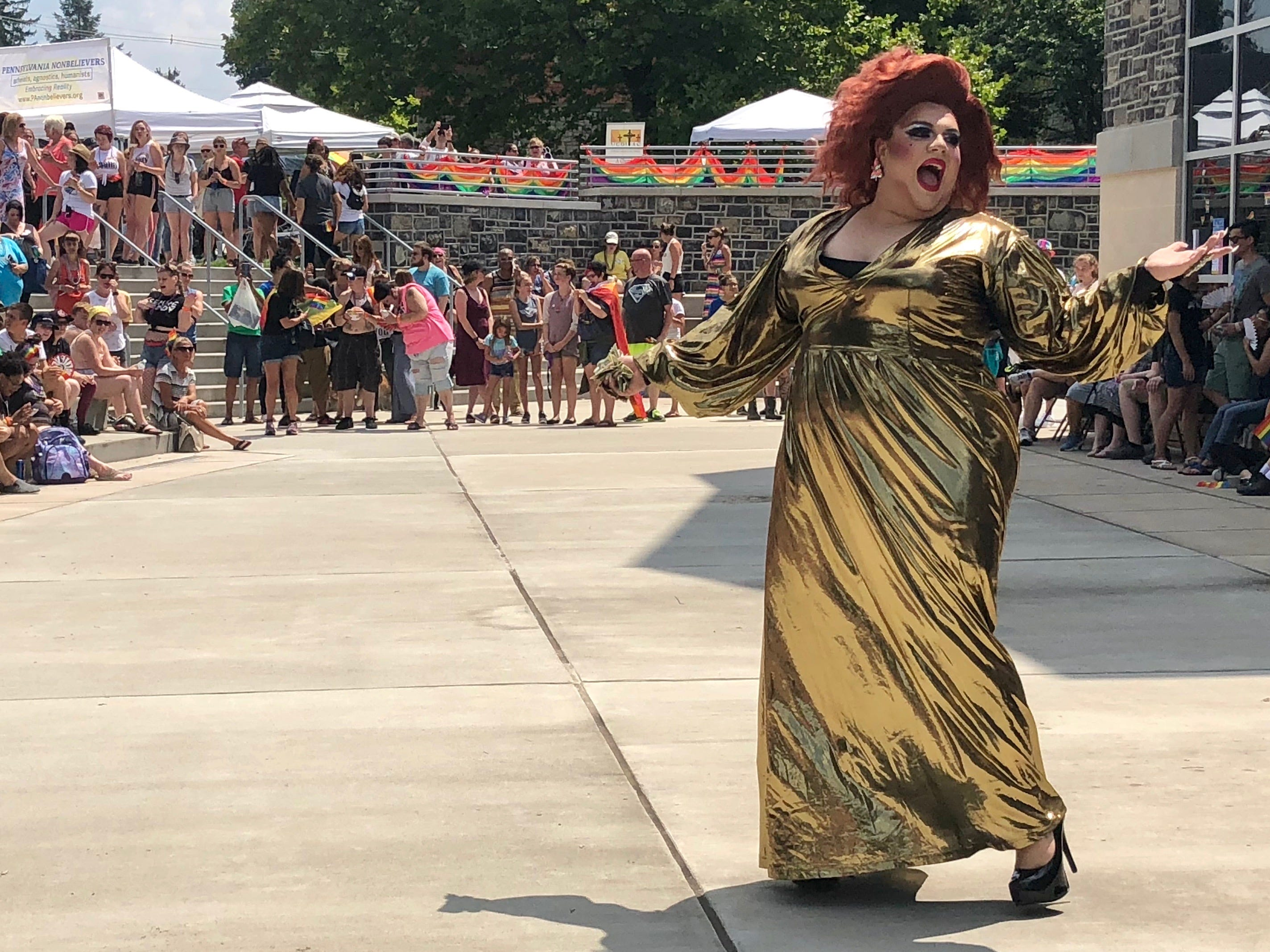 Lolli Cox, a Chambersburg draq queen, performs at a drag show during Franklin County's first Pride festival the afternoon of Sunday, Aug. 5, 2018 at Wilson College in Chambersburg.