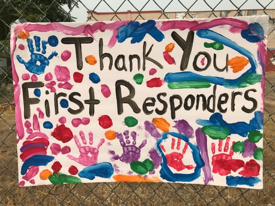 A thank you sign in downtown Redding to the men and women responding to the Carr Fire.