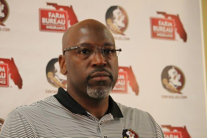 FSU defensive coordinator Harlon Barnett speaks to the media for the first time at his preseason press conference.