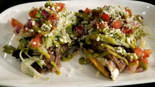The Gafford's short rib tostada appetizer was tender beef, brimming with flavor and enhanced by a black bean puree and topped with Oaxaca cheese, fresh pico de gallo, a bit of shredded cabbage and finished with a guacamole salsa atop two fried tortillas.