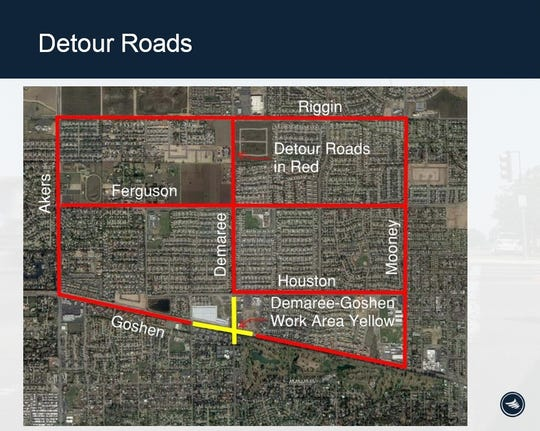A map of detour routes to take to avoid the Goshen Avenue and Demaree Street intersection construction zone.