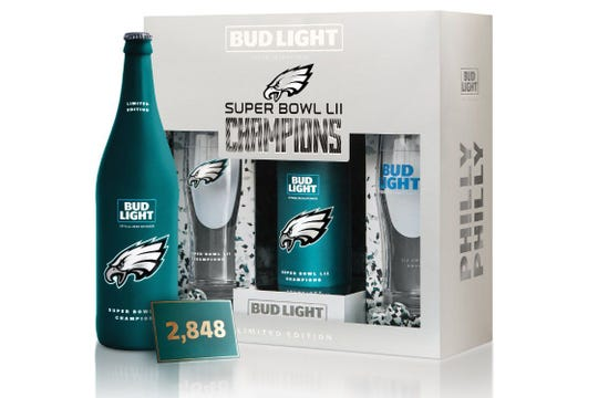"The special ""Philly Philly"" commemorative packs that hit stores will include a 25-oz. aluminum bottle bearing the date and score of the Eagles Super Bowl win, plus a pair of logo-decorated glasses that have been etched with the Philly Special play diagram."