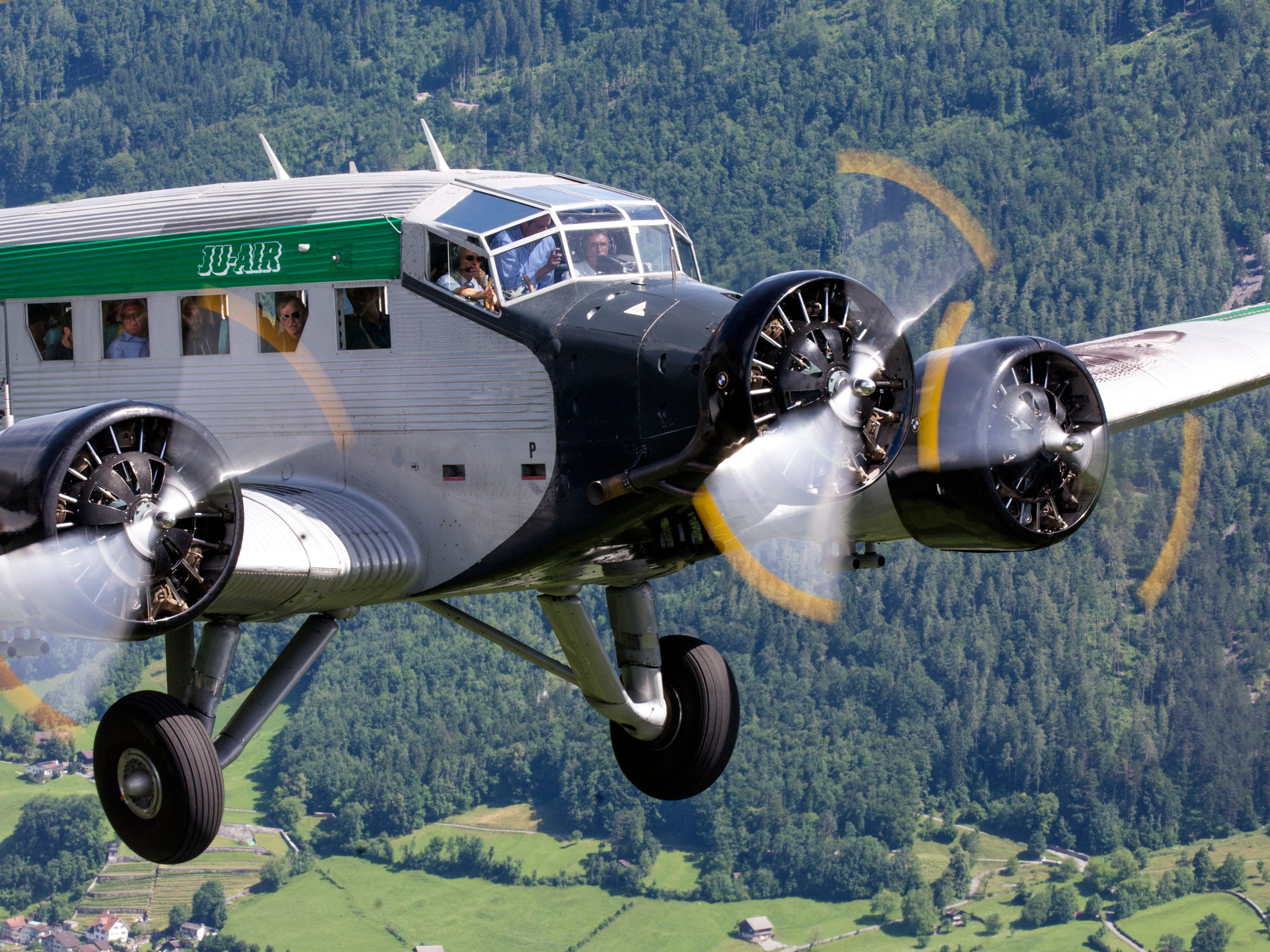 Undated pic of a JU-52 aircraft of the JU-AIR in the air. A JU-52 of the JU-AIR crashed on Saturday afternoon on Aug. 4,  2018 at Piz Segnas above Flims, Switzerland.