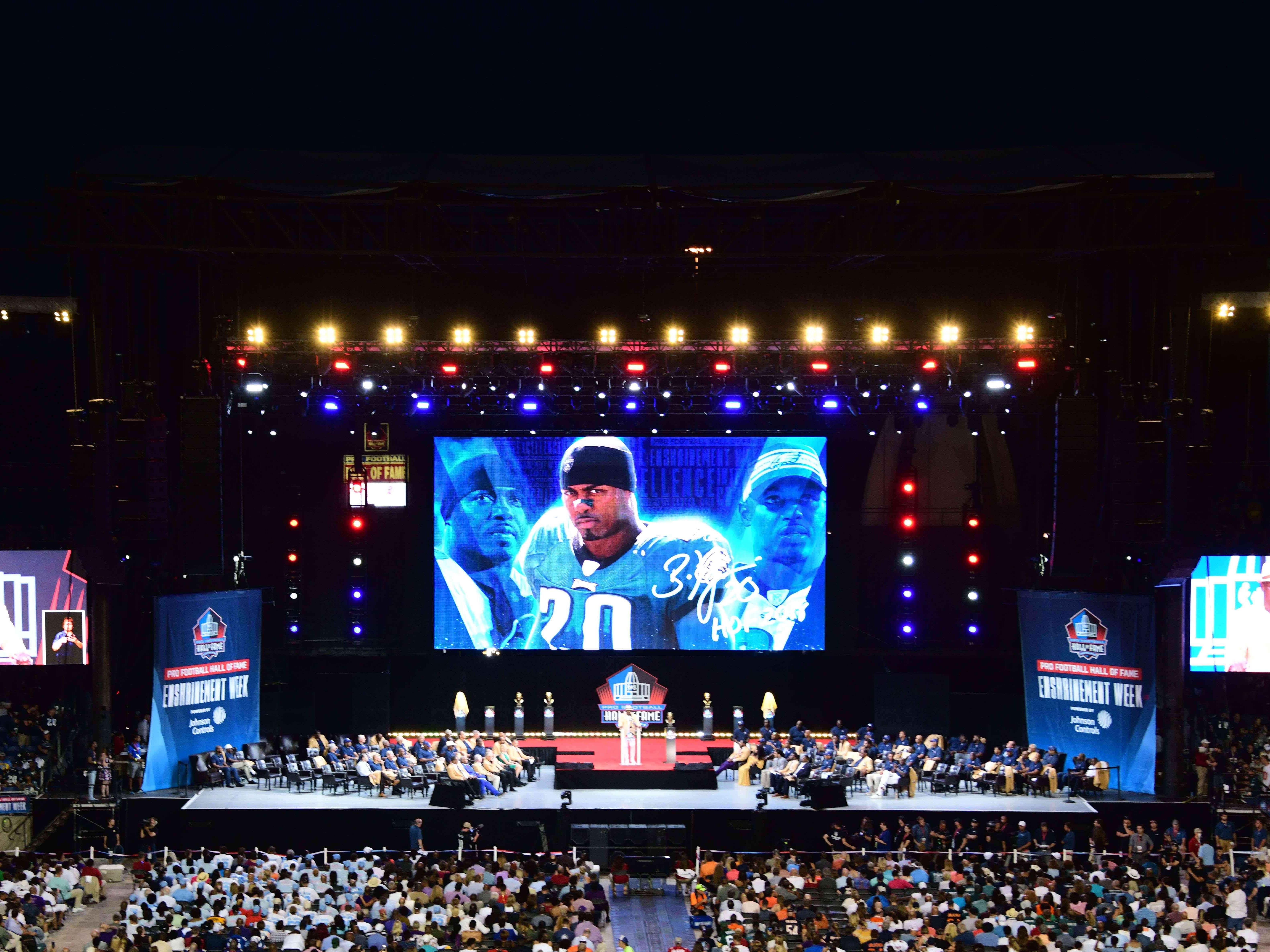 Former Philadelphia Eagle and Denver Broncos safety Brian Dawkins speaks during the Pro Football Hall of Fame Enshrinement Ceremony at Tom Bensen Stadium.